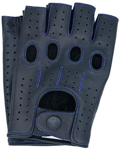 Riparo Motorsports Echte Lederhandschuhe mit Mesh für Männer oder Männer 2X-Groß Schwarz-Blauer Faden