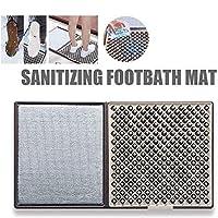 ソール消毒フロアマット、防水性と洗える外側のドアマット、屋外/屋内の滑り止めと洗える汚れマット-ブラウン83x45x2cm