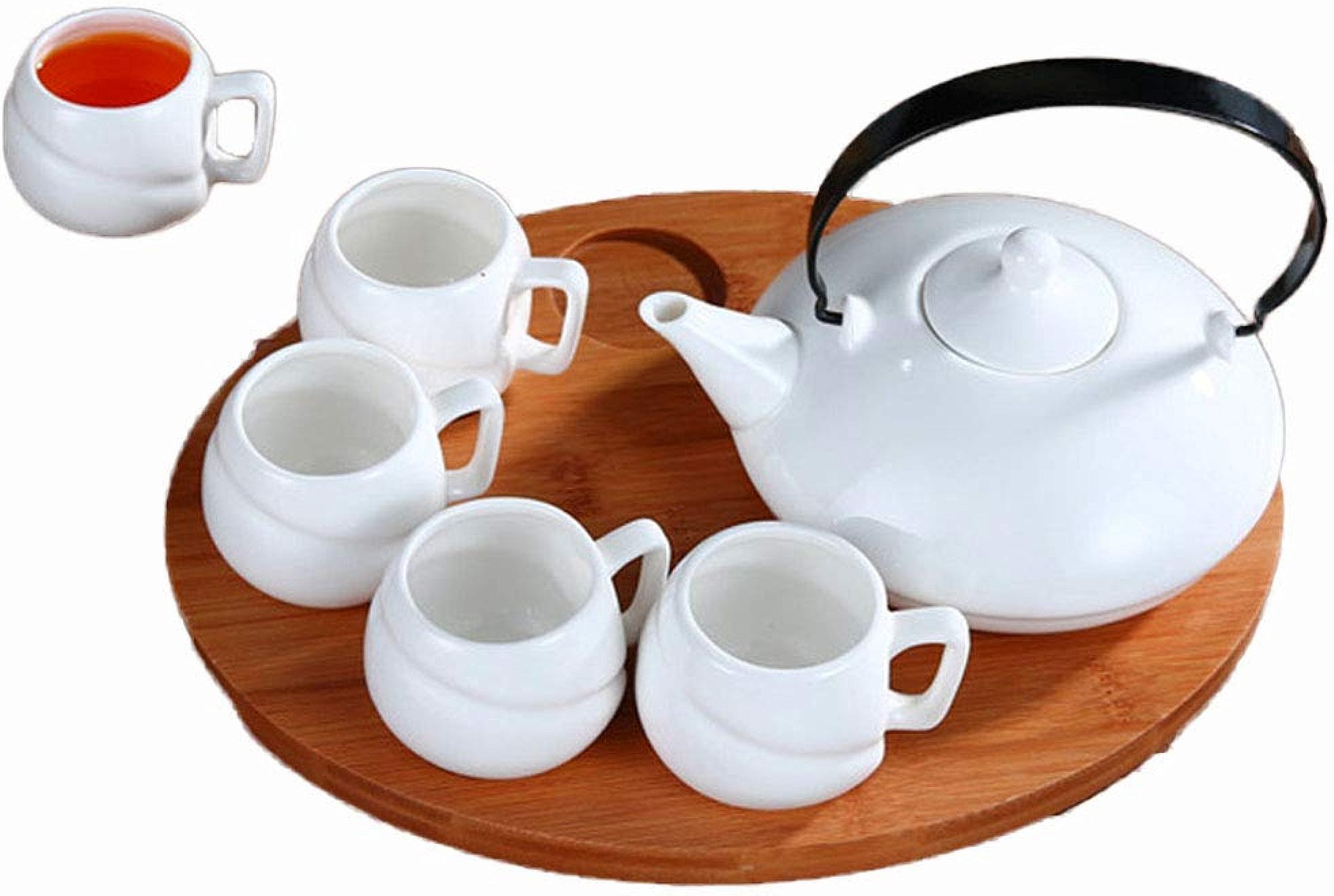 Cadeau Théière en céramique blanche, ensemble de tasse d'après-midi parfumée Décoration (Couleur   Blanc)