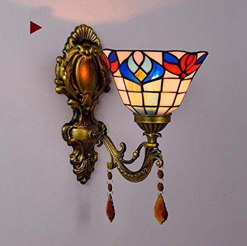 GJX Crystal wandlamp, Tiffany Europese stijl glas in lood wandlampen, creatieve persoonlijkheid slaapkamer nachtkastje hal ingang Aisle balkon badkamer spiegel voorzijde decoratieve wandlamp (kleur: B)