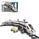 FYHCY Juego de construcción de Tren eléctrico City con vía, Tren de Alta Velocidad con Motor, 641 Piezas de Bloques de construcción compatibles con Lego