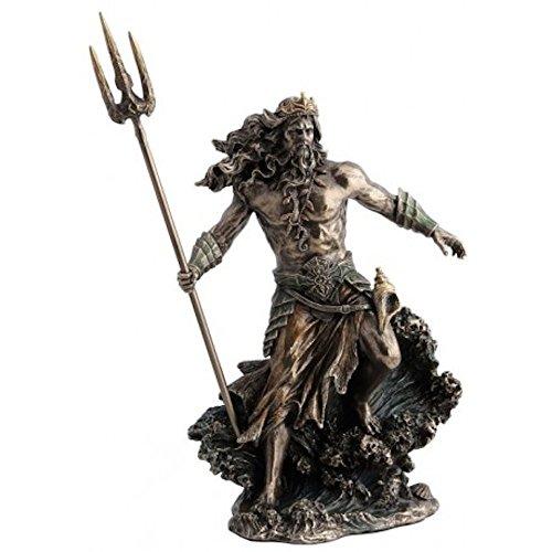 Unbekannt Poseidon Griechischer Gott des Meeres mit Dreizack Figur bronziert Skulptur Neptun