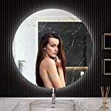 Fixsen 32 Inch Bathroom LED Mirror Wall Mounted Vanity Anti-Fog Dimmer Touch Control Cold/Warm Light Switch Horizontal &Vertical Installation Brightness Memory Plug/Hardwired Round