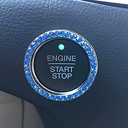 Bling Car Decor Blue Crystal Rhinestone Car Bling Ring Emblem Sticker, Bling Car Accessories for Women, Push to Start Button, Key Ignition Starter & Knob Ring, Interior Glam Car Decor Accessory (Blue)