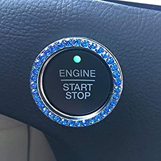 Bling Car Decor Crystal Rhinestone Car Bling Ring Emblem Sticker, Bling Car Accessories for Auto Start Engine Ignition Button Key & Knobs, Bling for Car Interior, Unique Gift for Women (Blue)