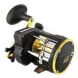 LinTimes Carrete de pesca con contador de línea y alarma de campana de agua salada convencional
