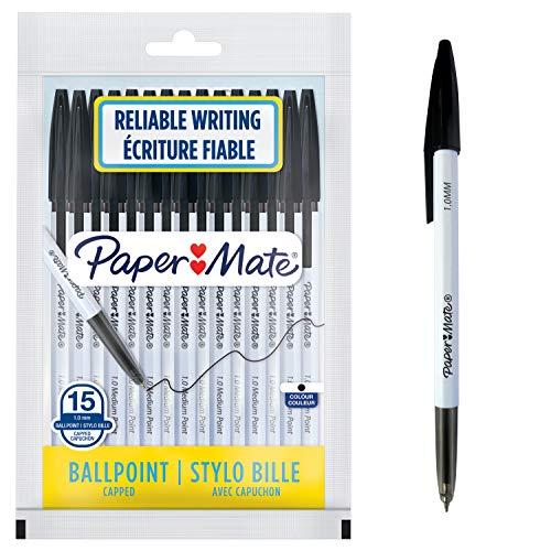 Paper Mate O45 Penne a Sfera Retrattili, Punta Media 1.0 mm, Inchiostro Blu, Nero, 15 Pezzi