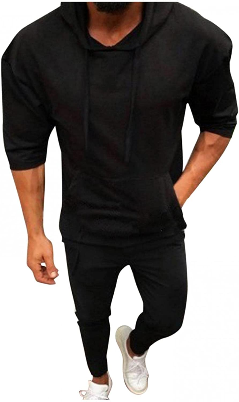 Aayomet Hoodies Sweatshirts for Men Solid Tops 3/4 Sleeve Crewneck Athletic Hooded Pullover Blouses Sweaters with Pocket