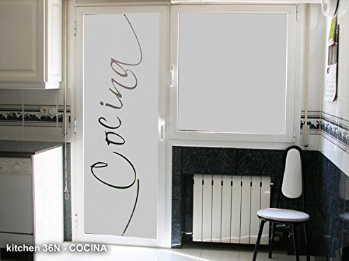 TOKPERSONAL Vinilo para Cristales KITCHEN36N - Cocina decoración Original (50_x_195)