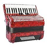MYRCLMY Acordeón, Teclas Profesionales Red 34 48 Bass Mano Piano Acordeón Adulto Principiante Acordeonista Instrumento Musical