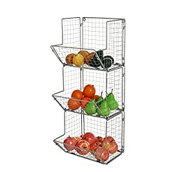 in budget affordable MyGift 3-layer gray metal wire wall-mounted kitchen fruit shelf, bath towel …