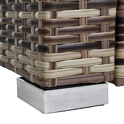 ESTEXO Rattan Lounge Sitzgruppe Polyrattan Gartenmöbel Set Couch 3-Sitzer Rattanmöbel Sofa Set Essgruppe Gartenset Balkon-Set (Beige-Braun) - 9