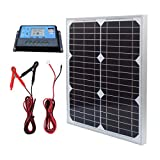 TP-solar Solar Panel Kit 20W 12V Monocrystalline with 10A Solar Charge Controller + Extension Cable with Battery Clips O-Ring...