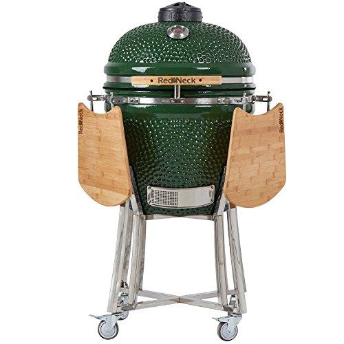 AsVIVA Redneck Keramik Grill (47cm Grillfläche), BBQ Grill, Edelstahl Anbauteile, Bambus Ablagen, Thermometer Spezialdichtungen (bis zu 400°C), grün