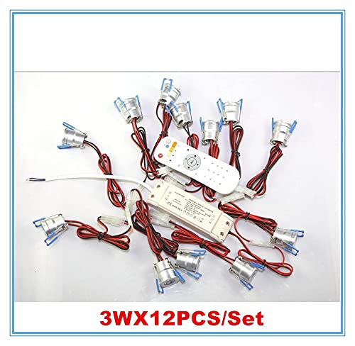FYYONG 15pcs 3w mini dimmable LED Downlight 15x3W LED empotrable Lámparas de techo Luz de punto AC110-240V + CONDUCTOR + 2.4G Dimmer Envío gratis (Emitting Color : 12PCS LIGHT)