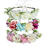 Cinta para el Cabello de Corona de Flores, GuKKK Ajustable Hecha a Mano Diadema Floral, No...