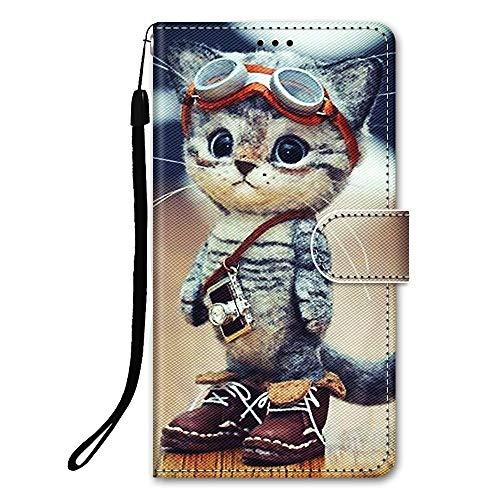 DiaryTown Hülle Kompatibel mit Samsung Galaxy S21 5G Leder Handyhülle mit Silikon Hülle Stoßfeste Hülle PU Leder Flip Handytasche mit Kartenfach Schutzhülle Ledertasche Wallet Hülle, Katze A