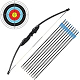 54' Long Bow Right Handed 30 LBs Draw Weight Archery Bow and Arrow Shooting Hunting Set with 9 Arrows 3 Target Paper for Beginner Youth Junior Adults
