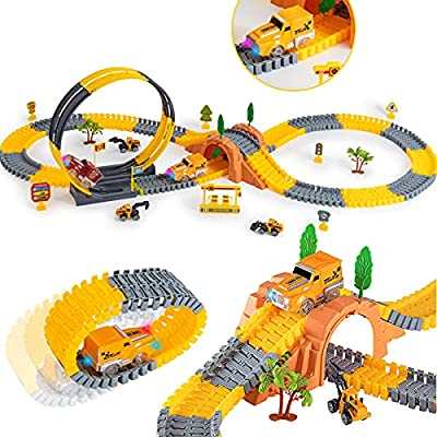 Amazon - 40% Off on Race Car Track for Kids, 181PCS STEM Building Bendable Trains Tracks
