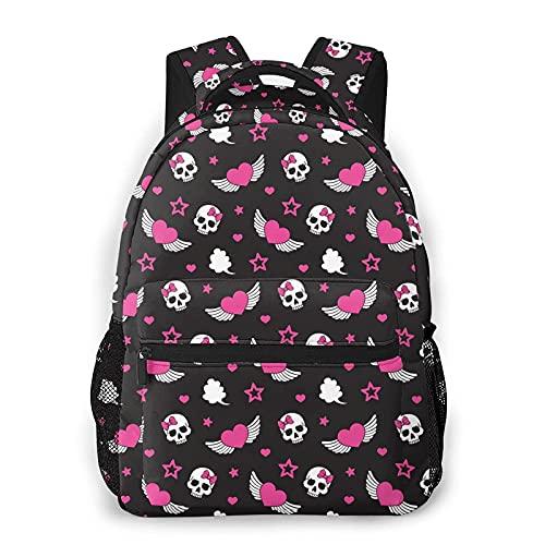 Mochilas para niños alas y calaveras impermeables bolsas de libros para computadora portátil, mochila de viaje para niños
