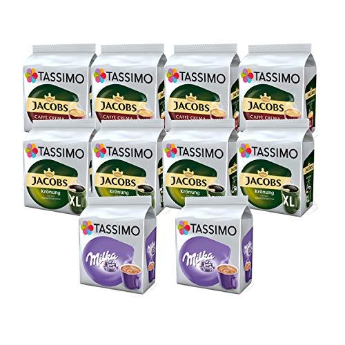 Tassimo Jacobs Café Crema / Kronung XL / Milka Kaffee Kapseln, 10er Pack, 144 Getränke