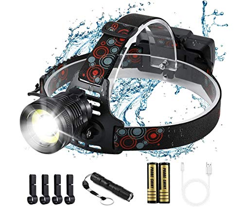 Headlamp, 2 in 1 Newest Version Ultra Bright Led Headlamp, High Lumen Zoomable,COB Enhanced Headlamp, USB Rechargeable Waterproof Headlamp Flashlight, for Hunting, Camping, Auto Repair, Outdoors