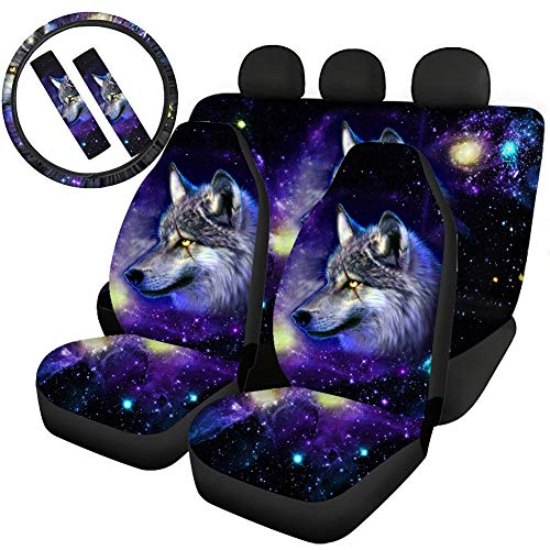 Woisttop Galaxy Wolf Autositzbezüge-Set, 2 Vordersitzbezüge und 2 Sitzbank-Schutzpolster + 1 Lenkradbezug + 2 Auto-Sicherheitsgurtpolster, 7 Stück, universell passend