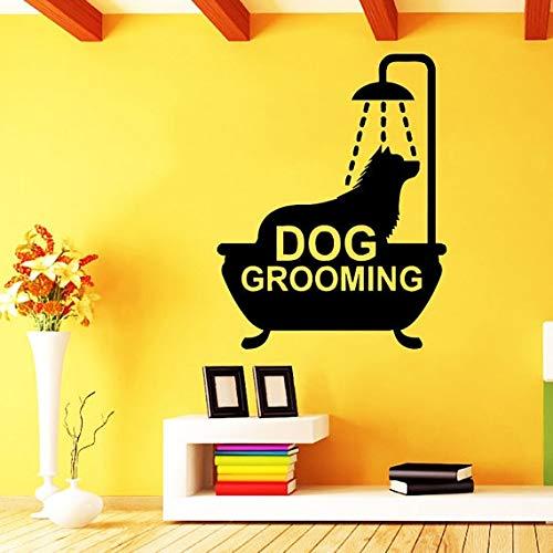 Tianpengyuanshuai huisdier-tent-etiket voor honden, kam, voor honden, schaar, kunst, vinyl wandsticker, badkamerdecoratie