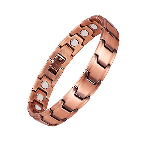 Feraco 99.99% Pure Copper Magnetic Bracelet for Men Women Arthritis Pain Relief with Strong Magnets, Rose Gold