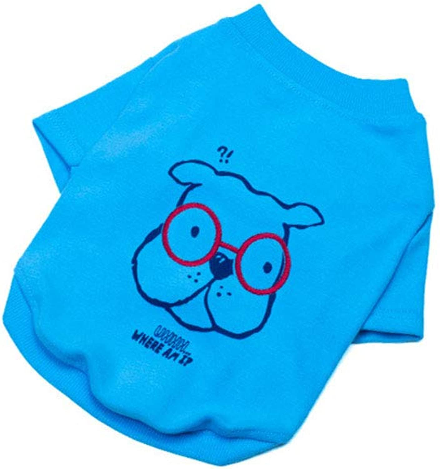 Dog Apparel Dog Clothes T Shirt Vest Soft and Thin Fit for Extra Small Medium Dog 2 colors (color   bluee)