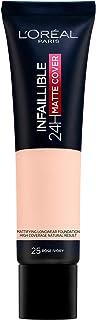 L'Oréal Paris Infaillible 24H Matte Cover 25 Ivoire Rose Ivory, langdurige vloeibare make-up, hoge dekking, water- en veeg...