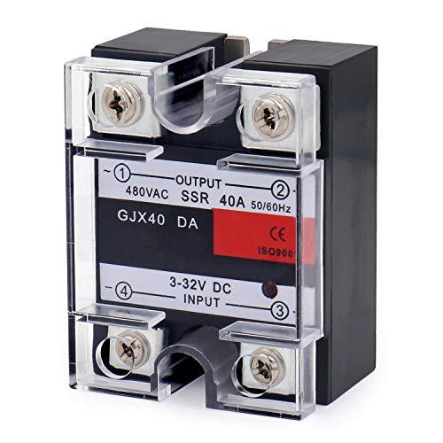 Heschen SSR-40DA 3-32 VDC/480VAC 40A 50-60Hz Relé de Estado Sólido monofásico SSR-40DA 3-32 VDC/480VAC 40A 50-60Hz