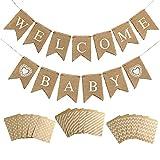 Hazrcvr Pancarta de Welcome Baby Vintage Lino Welcome Baby Banner Bienvenido Baby Banner Decoración de Baby Shower Banner con 60 Bolsas de Papel de Regalo,para Casa, Fiesta, Recepción
