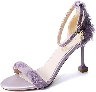 Purple 9cm high Heel Banquet Shoes Summer Stiletto Sandals Word Buckle Open Toe high Heels
