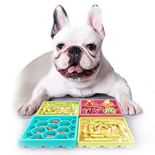DMSL 4 Piezas Alimentador Lento Tazón para Perros, Tazón alimentador Lento Bloat Stop Comida para Perros Tazón Laberinto Interactivo para Perros Bandeja para Comer Lento + Set de Bandeja para lamer