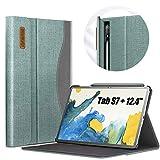INFILAND Funda Case para Samsung Galaxy Tab S7+ 12.4(SM-T970/T975/T976),Estuche Carcasa con Business Pocket,Book Cover con Auto Reposo/Activación para Samsung Tab S7 Plus 12.4 2020,Menta Verde