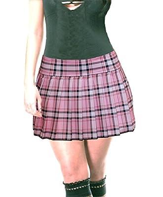 Plus Size Schoolgirl Tartan Plaid Pleated Mini Skirt Pink Stretch