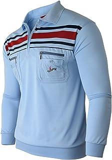 Soltice - Camiseta polo de manga larga para hombre, con cuadros, cuello a rayas, camiseta de mezcla de algodón (M hasta 3XL)