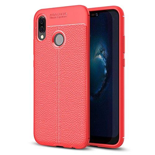UBERANT Capa para Huawei P20 Lite, capa de proteção de TPU (poliuretano termoplástico) flexível à prova de choque antiderrapante com padrão de lichia, antiderrapante para Huawei P20 Lite/Nova 3e - vermelha