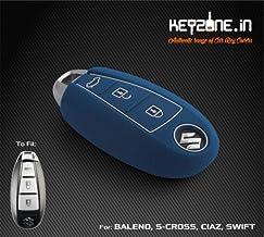 KEYZONE Silicone Smart Key Cover for Suzuki Vitara Brezza / Baleno / S Cross / Ciaz / Swift (Blue) - Set of 1