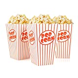 Tebery 48 Pcs Cine pequeñas cajas de palomitas de maíz – Papel cajas de palomitas de rayas rojo y blanco miden: 16 x 10 x 7 cm