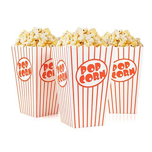Tebery 48 Stück Popcorn Tüte,Papiertüten Partytüte Rot-Weiß Gestreift Größe:16 x 10 x 7cm