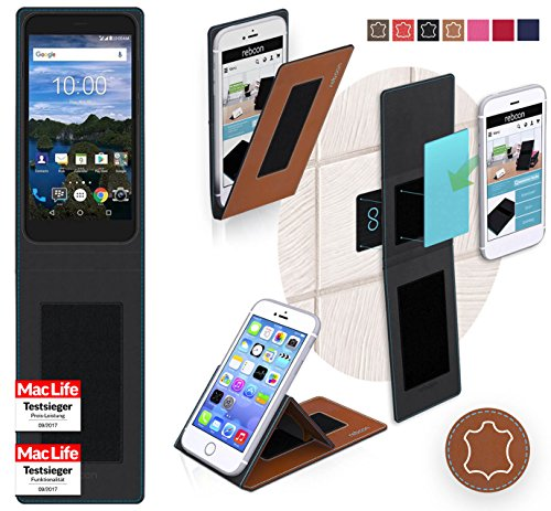 reboon Hülle für BlackBerry Aurora Tasche Cover Case Bumper | Braun Leder | Testsieger