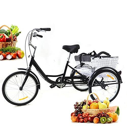 Dreirad Erwachsene 3 Rad Fahrrad Cityräder 20 Zoll Einzelne Geschwindigkeit Cargo Erwachsenendreirad Cruiser mit Kindersitz und Korb Für Außen Sports