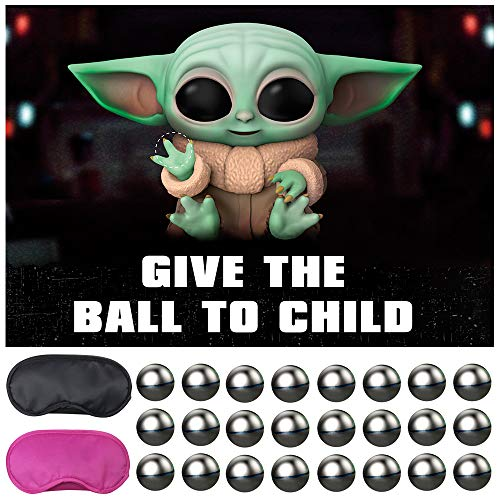 Baby Yoda Galaxy Wars Party Supplies,Pin The Balls on The Baby,Give The Balls to Child ,Outer Space Party Games,Large Poster with 24PCS Balls Stickers for Kid's Party Game