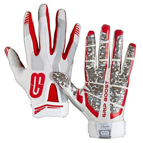GRIP BOOST Stealth Pro Elite American Football Receiver Handschuhe - weiß/rot Gr. M