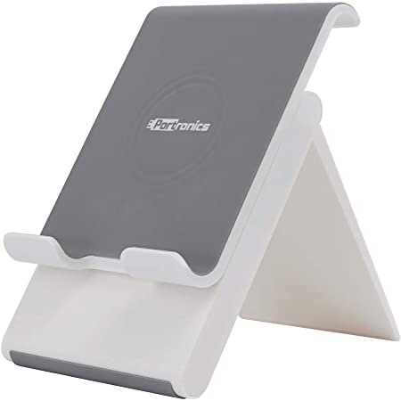 Portronics Paddie a Portable and Foldable Mobile & Tablet Holder with Adjustable Height, Suitable Viewing Angles, Sleek, Anti-Scratch and Study, White