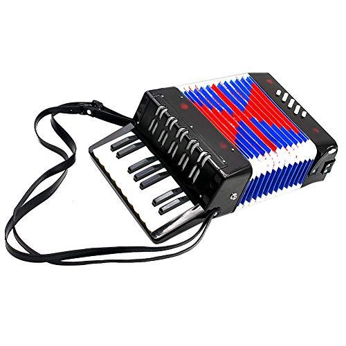 Acordeón Niños,Juguete Acordeon Infantil 17-Key 8 Bass Mini Pequeño Acordeón Instrumento Musical Ritmo de Juguete Fácil de Tocar, (Negro)
