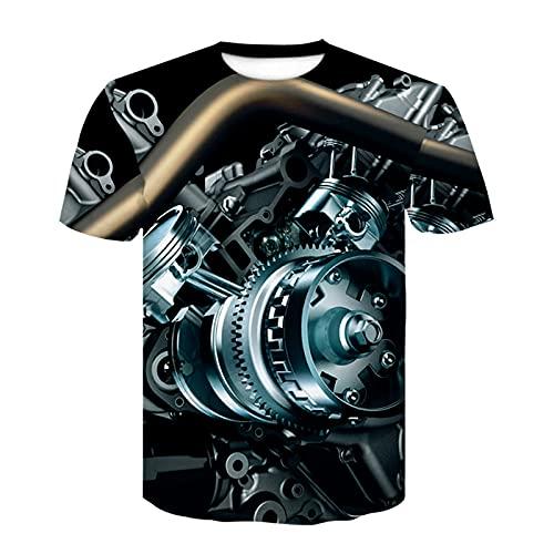 zzzddd Hombre Manga Corta 3D Motocicleta Camiseta Punk Ropa Personalizada Ropa Camiseta Mecánica Camiseta Top Camiseta Cómoda Transpirable Ropa De Hombre, Mecánica, M