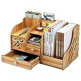 School Supply Storage DIY Wooden Desk Organizer with Drawer,Pen Holder Box Desktop Stationary for Students